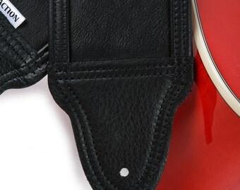 Blackheart 200 Soft Black Leather Custom Guitar Strap