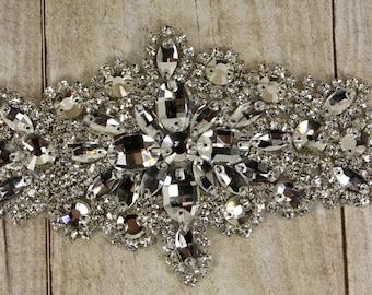 Rhinestone applique, couture crystal applique, wedding applique, beaded patch for wedding sash, bridal accessories, Cowboy hats.