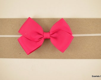 Hot Pink Grosgrain Bow Headband - Baby Headband - Toddler Headband - Adult Headband