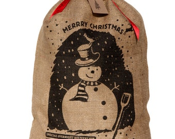 Personalized Christmas sack, jolly snowman design Christmas stocking with red ribbon