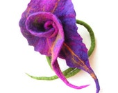 Felted brooch Wool Felt Purple Green Yellow floral flower flowers boho OOAK
