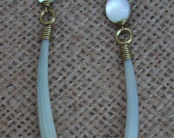 Free shipping, Earrings, green Tusk Shell and  Mother of Pearl Bead