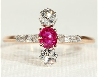 Edwardian Ruby and Diamond Ring, 14k Gold and Platinum