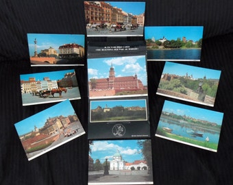 Warsaw Poland - Adam Sachocki for LOT Polish Airlines - 9 Vintage Postcards in the Original Packaging