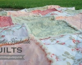 RAG QUILT BLaNKeT THRoW - Custom, Modern Chic, Shabby Chic, Handmade, Luxe, Photo Prop // You Pick CoLoR & STYLe!