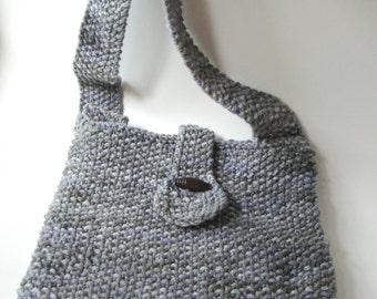 Grey Marble Hand Knitted Cotton Cross Body Bag - Women's Handbag - Teen Handbag - Vegan Handbag - Knit Cross Body Bag - Cotton Purse