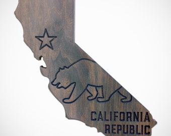 California Bear Wall Decor – CA State Flag  - Hand made with Poplar wood (Light Gray Stain)