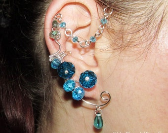 Water Elemental ear cuff, no piercing earring for Water Fairy costume, wire ear cuff for Naiad costume, Elemental jewelry, water magic
