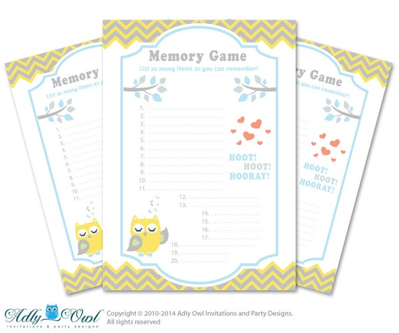 boy owl memory game for baby shower printable card for baby owl shower