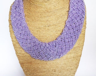 50% off Lavender Necklace/Beaded Necklace/Statement Lilac Necklace/Bohemian Necklace/Braided Necklace