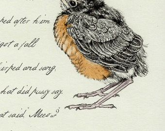 2 Baby Robin Sketchbook Poem Card