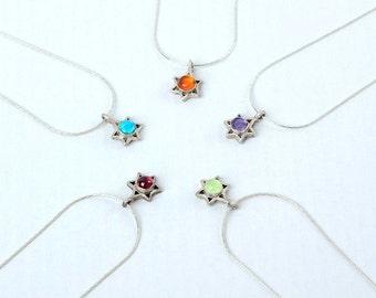 Tiny David Star pendant , Sterling silver star , Small star of David  , Magen David with gems , Bat Mitzvah gift ,  Jewish jewelry
