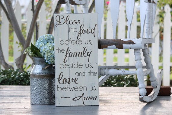 "Bless the food before us, Large hand painted wood sign, Kitchen & dining room decor, Housewarming gift, wedding gift, Measures 10.5"" x 22"""