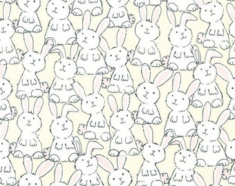 Bunny Quilt Fabric, Babes in Farmland Gail C3124 Butter Timeless Treasures, Baby Quilt Fabric, Easter Bunny Fabric, Rabbit Fabric, Cotton