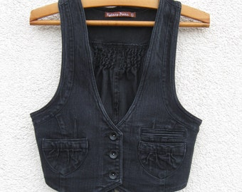 Vintage Black Denim Cropped Waistcoat Women Metal Button Romantic Fitted  Medium Vest