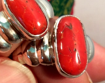 Size 11 - 11.5 Sterling Silver Ring,  Old Red Coral. free US ship