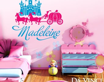 Princess Castle Carriage Pony Personalized Custom Name Room Bedroom Vinyl Wall Decal Sticker Decoration