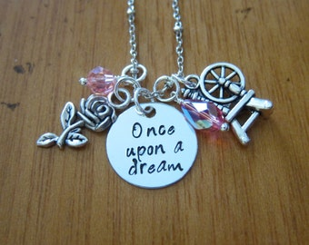 Sleeping Beauty Inspired Necklace. Once Upon A Dream. Princess Aurora. Silver colored,  Swarovski Elements crystals. Hand stamped.
