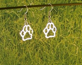 Dog Earrings~Dog Paw Print Earrings-SILVER-BRONZE-GOLD-Animal Awareness Earrings-Large Dog Paw jewelry-Pet earrings-dog earrings-dog lovers