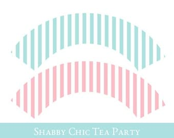 Shabby Chic Cupcake wrappers, cupcake wrapper printable, cupcake label printable, Shabby Chic Party Printable, Party Decorations