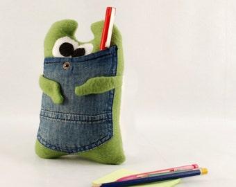 Plushie with pocket Green plush monster