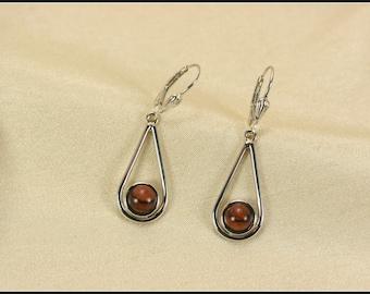 Silver teardrop earrings, Sterling silver earrings, Silver dangle earrings, Sterling drop earrings, silver earrings wood, Leverback earrings