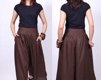 Sun Rises - Brown - Linen Skirt Pant - idea2love