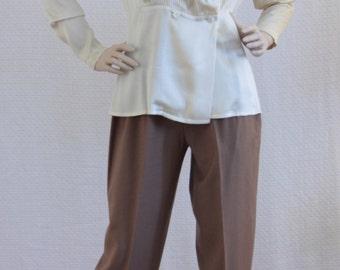 Vintage Alan Austin Silk Blouse White