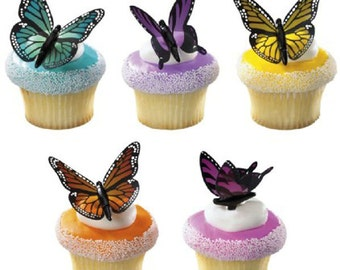 Set of 12 Butterfly Cupcake Picks Cake Toppers Decorations Wedding Mother's Day