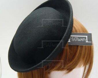 TRENDY Fashion Plain Wool Felt Mini Bowler Hat Fascinator - Black