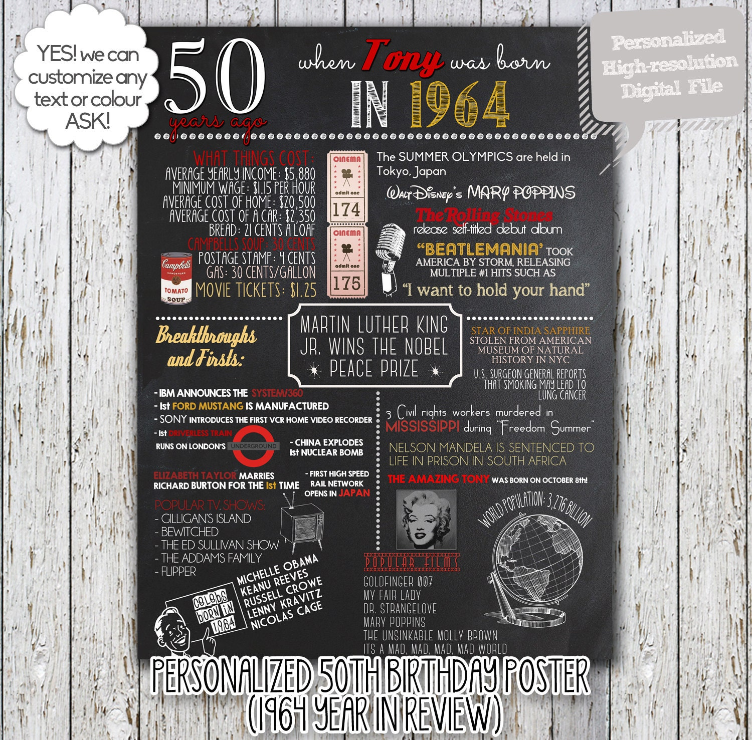 Birthday Date Poster: Personalized 50th Birthday Poster Printable 1965 OR 1964
