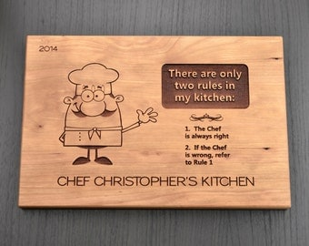 Personalized Chef Cutting Board, Custom Chopping Block, Engraved Hostess Gift, Housewarming Gift, Mother Day Gift, Gourmet Food Gift 8 x 12""