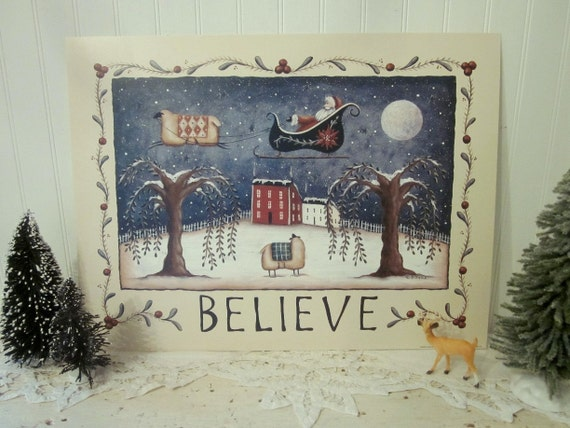 Whimsical BELIEVE Folk Art Santa and Sheep Print, Country Farmhouse Cottage decor. The Night Before Christmas...