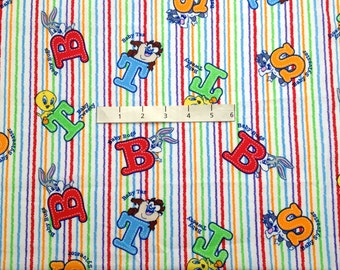 Baby LOONEY TUNES Fabric ~ Tweety Sylvester Taz Bugs Striped ABC Quilt Nursery
