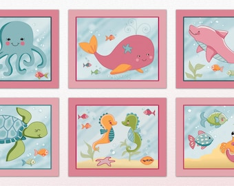 Set of Six Under the Sea Art Prints - made to match a beddding set. Cute Girl Colors. Octopus,Whale,Crab,Dolphin,Sea Turtle, Seahorse