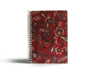 Red Floral Paisley Spiral Notebook Japanese Flowers Blank Sketchbook School Gift, A5 Spiral Bound Writing Journal Diary Cute, Under 20