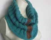 Infinity Hand Knitted Scarf Turquoise-Teal Unisex