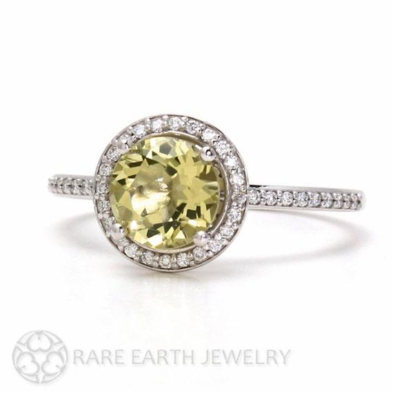 lemon quartz ring halo engagement ring 14k or 18k