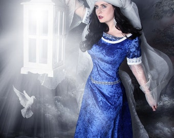 elven dress, elfish dress, medieval, fantasy, LOTR, wedding dress, fairy tale, princess bride, Cosplay, made to measure,