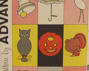 Vintage 60's Sewing Pattern, Holiday Decorations and Appliques, Baby Shower, Halloween, Thanksgiving and More