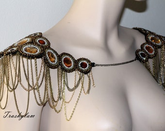 Boho steampunk glam bejeweled beaded chain Epaulettes shoulder harness necklace Statement piece jacket accessories