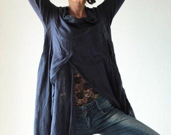 Bambina Tunic thin linen/cotton / long sleeve / blouse /Boho/(1133) One size