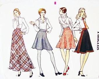 1970s Flare Skirt Pattern, Misses size 10, Vogue Pattern, 4 lengths Skirt, Flared Skirt, Mini Skirt,  Maxi Skirt Pattern