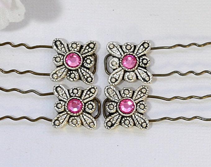 Pink Finishing Pin Set of 4 French Bobbies Pink Hair Pin Small U-Pin