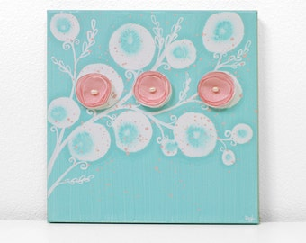 Aqua and Pink Nursery Art for Baby Girl - Flower Painting on Square Canvas - Small 10x10