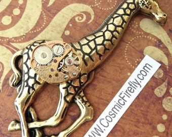 Big Steampunk Pin Big Giraffe Brooch Steampunk Brooch Antiqued Brass Gold Giraffe Pin Vintage Watch Movement Swiss Movement Art Jewelry