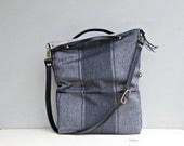 Grey Wide Stripe Tote Bag - Black Cross Body Purse - Business Messenger Bag - Custom Length Leather Strap  - Gray Stripes