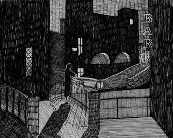 le notti bianche // black and white flapper art print