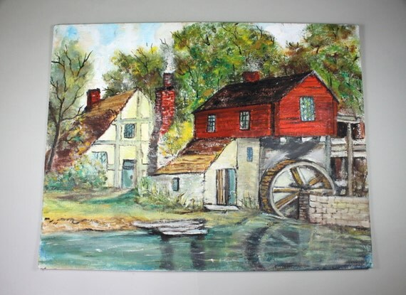 Vintage Art Original Paintingfarm House Barn Rustic Red