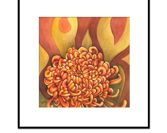 surreal painting, orange flower watercolor, original artwork, chrysanthemum, wall art
